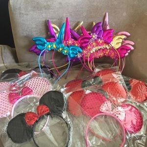 Lot of 19 Minnie Mouse & Unicorn Head Bands